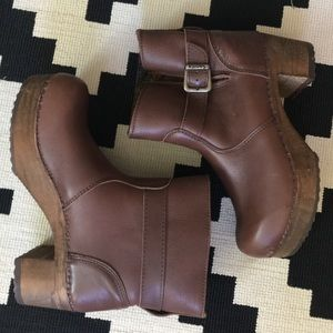 Sanita Brown Clog Leather Boots